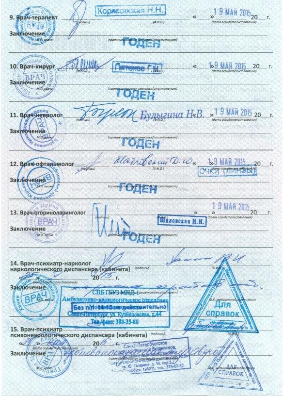 Медицинская справка для водительского удостоверения в московском районе санкт-петербург медицинская справка форма 70 бланк
